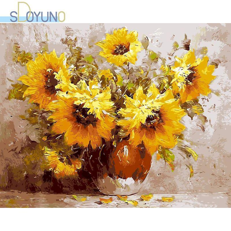 Dipinti Sdoyuno Diy Paint By Numbers Kit 60x75cm Pittura ad olio su tela Sunflowers Frame Handpaint Coloring Regalo