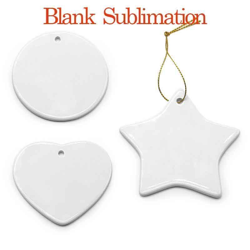 قلادة الإبداعية فارغة الأبيض التسامي السيراميك قلادة الإبداعية عيد الميلاد الحلي الطباعة diy السيراميك حلية القلب