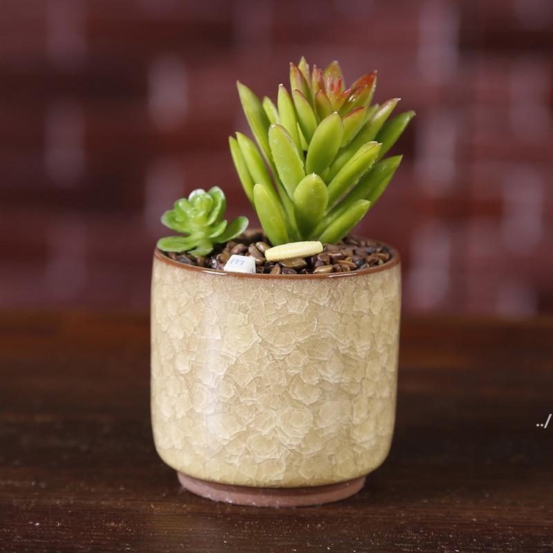 الجليد متصدع البسيطة السيراميك وعاء زهرة ملونة لطيف زهور لسطح المكتب الديكور لحمي بوعاء النباتات المزارعين DWF5853