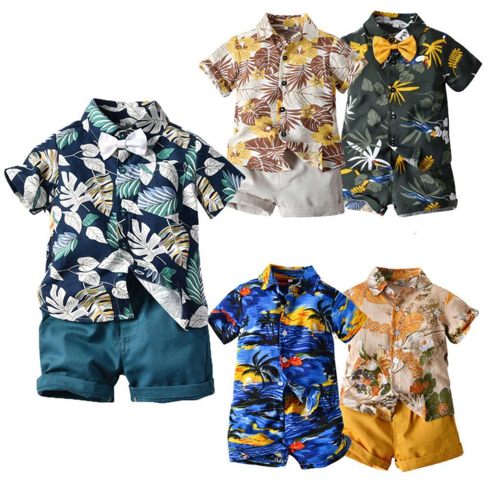 Enfants ClothesShort Manchons Fleur Summer Shirt Boys Casual Two Piece Bébé Multi Color Beach Vêtements Lot