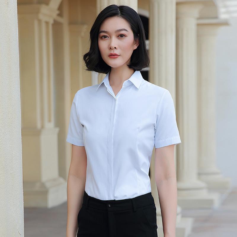 2021 camisa blanca de las mujeres de manga corta profesional de verano coreano Top Slim Business