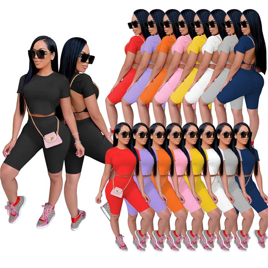 Women solid color Tracksuits sexy Two piece sets Plus size S-2XL outfits summer clothing hollow out t shirts+mini shorts backless jogger suit 4701
