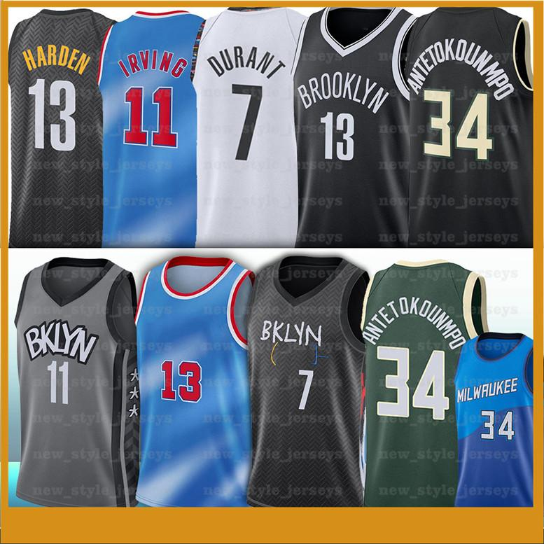 Antetokounmpo 7 Kevin 11 Kyrie Durant Jersey 13 Irving Harden Antetokounmpo 34 Giannis NCAA Men Basketball Jerseys