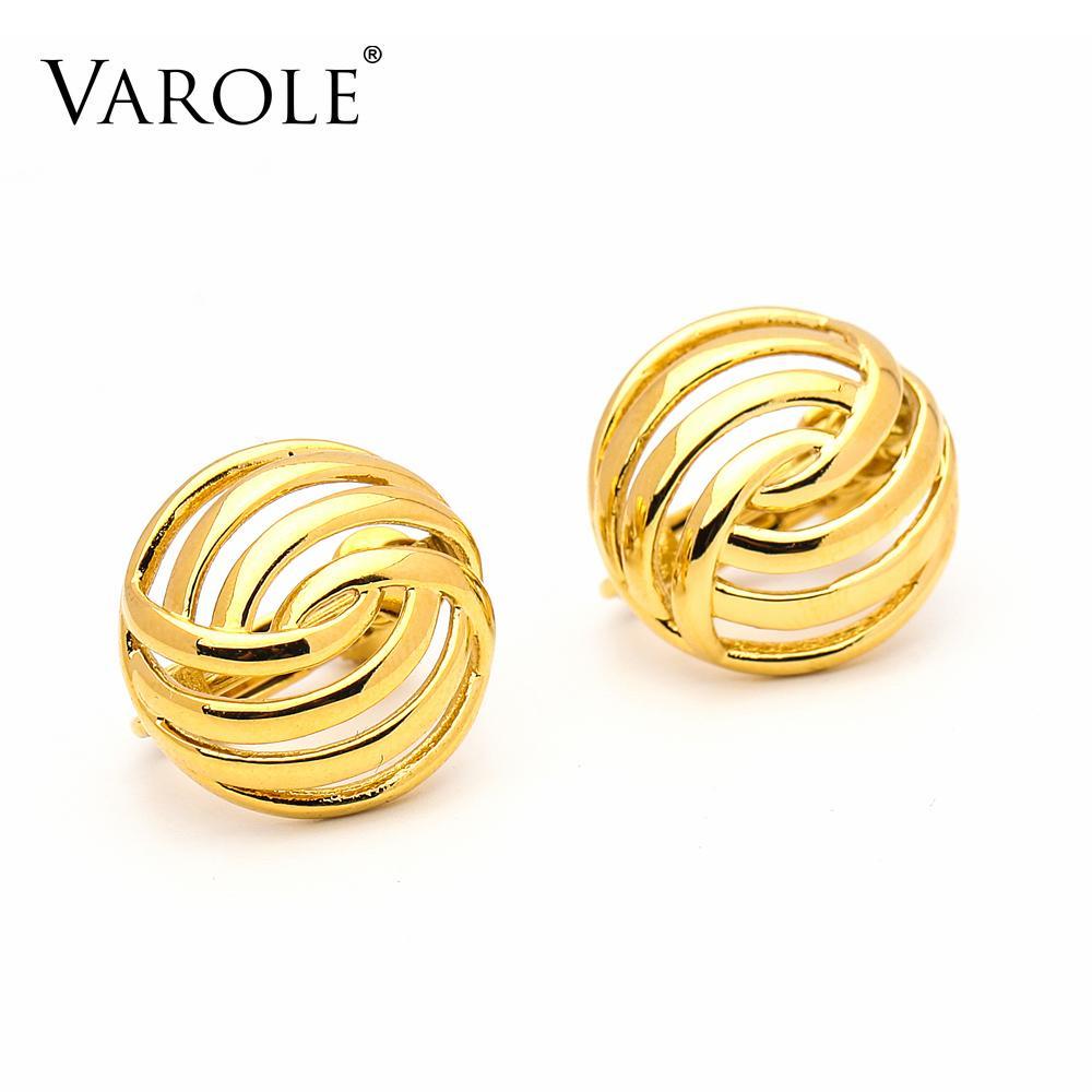 VAROLE Punk Ball Hollow Ear Cuff Clip On Earrings For Women Gold Color Earings Without Piercing Jewelry Kolczyki