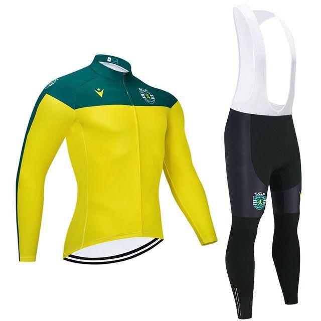 Команда Португалии Спортивное велосипедное Джерси Зимние Велосипедные Брюки Мужчины Длинные Рукава Ciclismo Тепловой Флис Велосипед Maillot Culotte X0503