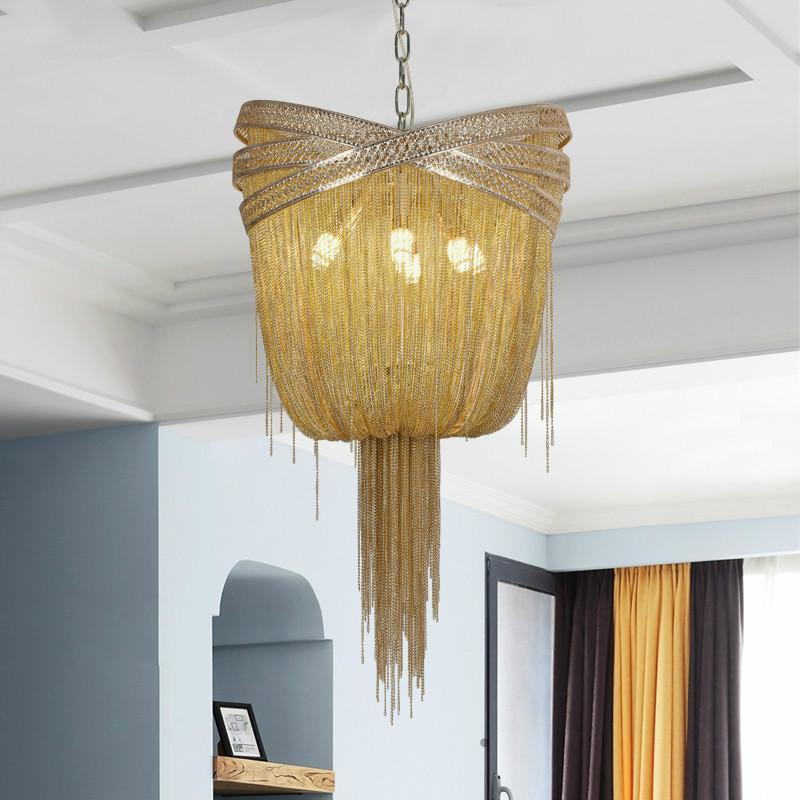 Pendant Lamps Industrial Style Gold / Silver Tassel Led Lights E14 Chain Hanging Lamp Living Room Suspend Light Luminarias Fixture