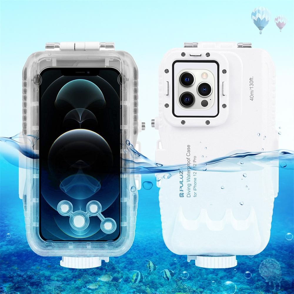 40m/130ft Waterproof Diving Cases Housing Photo Video Taking Underwater Cover for iPhone 12 Pro Max Mini Whie Color