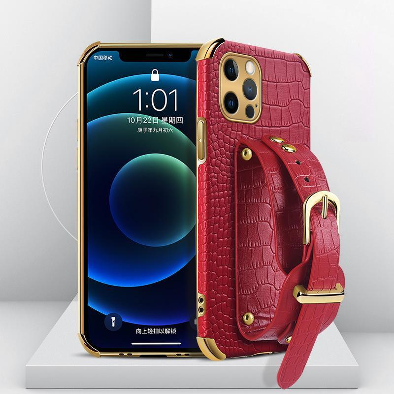 Krokodil Muster Armband Kickstand Cases Samsung S20 S21 HINWEIS20 A11 A11 A21S A22 A32 A52 A72 A82 5G Designer Schutzabdeckung Hülle Mode Stoßfest Anti-Herbst