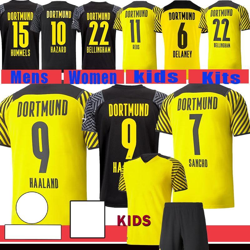 21 22 Haaland REUS Male Soccer Jerseys Borussia Fan Spielerversion Home Away Dritter 2021 2022 Dortmund Kinder Kits Brandt Plszczek Bellingham Hummels Fußball Hemd