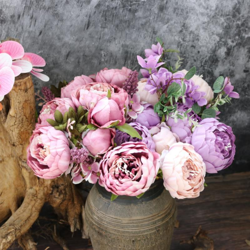 Decorative Flowers & Wreaths Artificial Weddings Decoration Silk Flower Retro Simulation Plant Home Vintage Wedding And Party Peony
