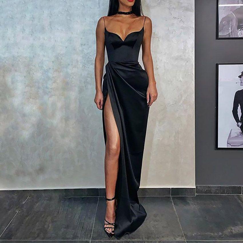 SPAGHETTI STRAPES Robe de soirée Mermaid long 2020 Robe de Soniree Côté Split Robes Femme Partie Night Robes De Pal Robes de promo