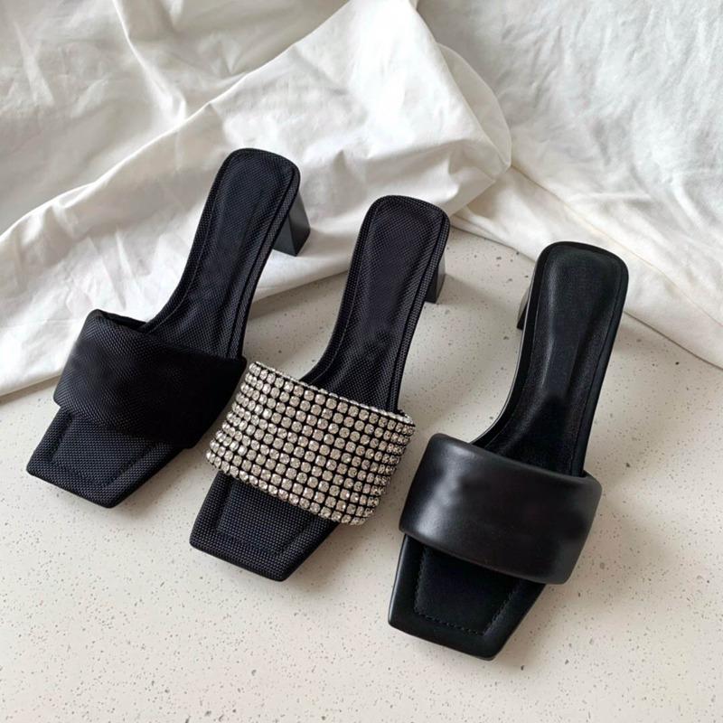 إمرأة صندل مصمم أحذية أعلى جودة جلدية شبشب سيدة الشرائح مكتنزة كعب الأزياء الفاخرة المصممين الصنادل النساء الأحذية عالية الكعب مربع تو النعال