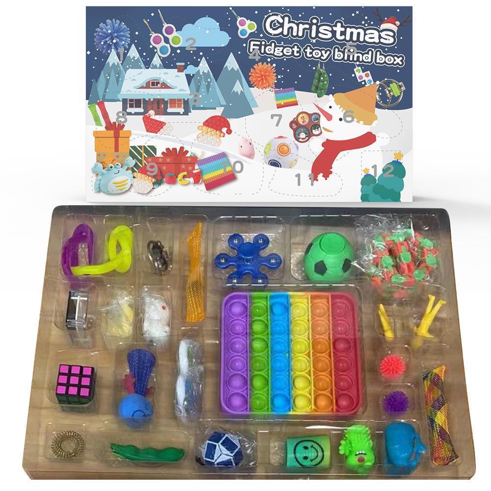 50% de descuento en Juguetes Fidget Christmas Blindic Box 24 días Adviento Calendario Navidad Amasado Música Caja de regalo Cuenta de Navidad Cuenta atrás 2021 Regalos para niños