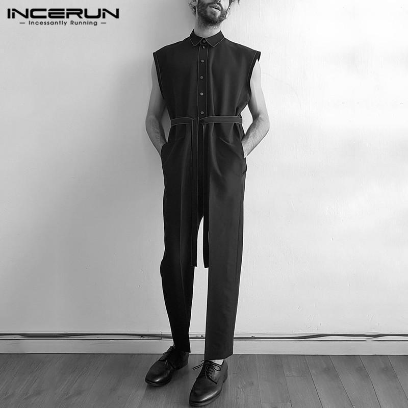 남자 Jumpsuit 민소매 streetwear 옷깃 버튼 바지 벨트 romper 조거와 솔리드 컬러 패션 캐주얼 바지 개발 7 남자