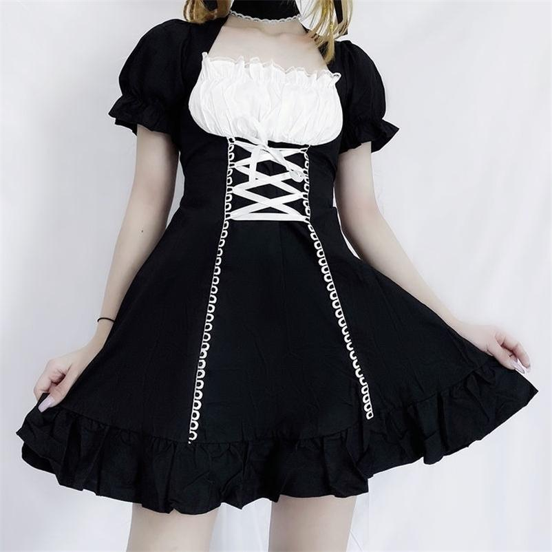 QWEEK Women's Maid Dress Kawaii Lolita Outfit French Maid Costumes Cosplay Bandage Dress Sexy Waitress Dress Puff Sleeve Uniform 210326