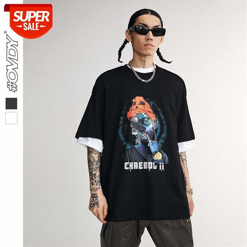 Ropa para hombres Primavera y verano Retro European American Fashion Marca Personalidad Hip-Hop Carácter Impresión T-shirt de manga corta ME # DM3Z
