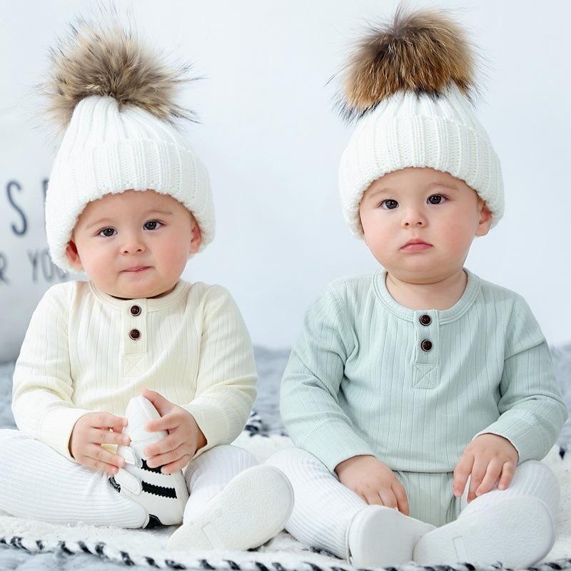 Весна и осень 3-24 м Детские мальчики сплошной цвет полоса мягкий треугольник ползунки младенческой милый с длинным рукавом вокруг шеи