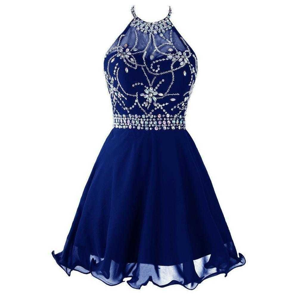 Royal Blue Short Homecoming Dresses Crystal Beaded Girls Graduation Dress Mini Halter Chiffon Prom Party Gowns vestido de fiesta H0916