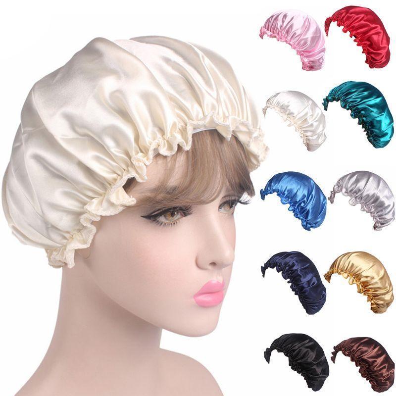 Donne Satin Silky Bonnet Sleep Night Cap Shiny Solid Color Ruffles Perdita di capelli Chemo Hat Elastico Cappuccio riccio Cappure Accessori