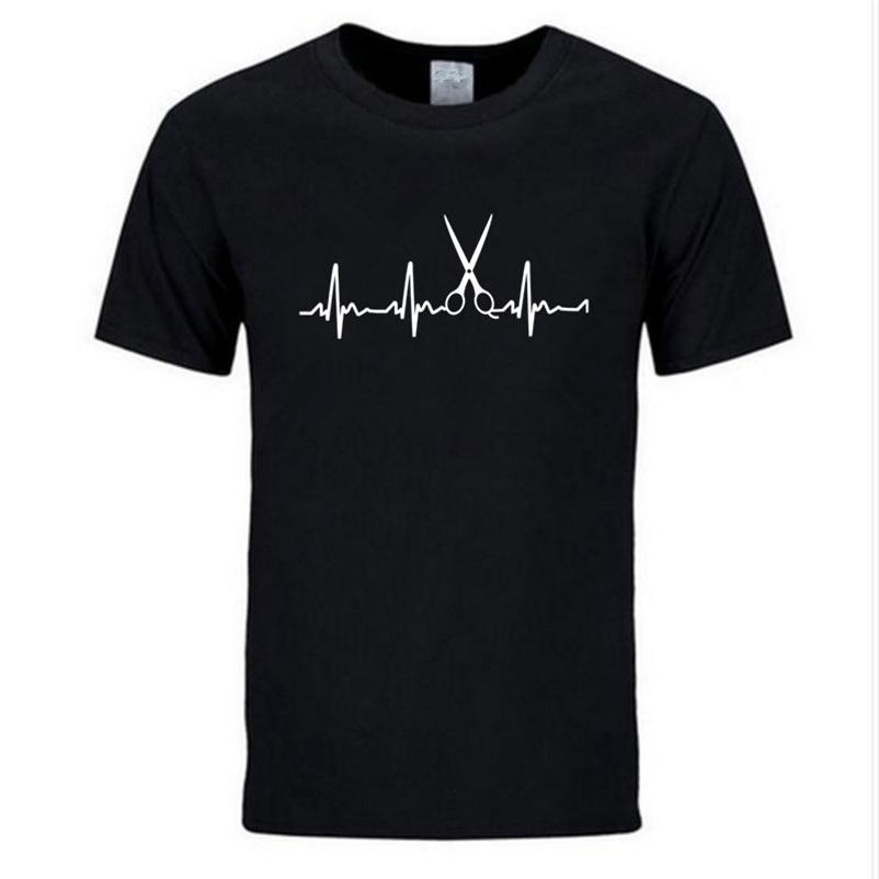 Yaz Marka Giyim Kuaför T Shirt Erkekler Serin Saç Baskılı Gömlek Kısa Kollu Pamuk Kuaför T-Shirt Tops 210322
