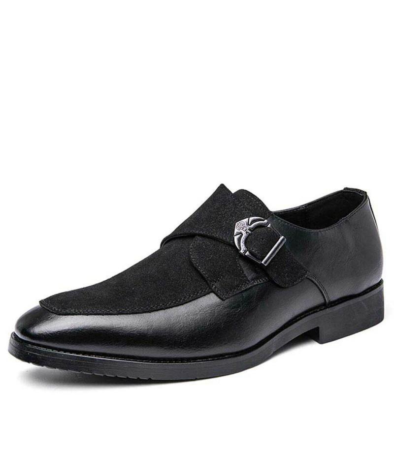 Hombre hecho a mano PU negro Puertas de gamuza metal solo hebilla monje zapatos retro clásico moda todo-partido negocio casual ka111 vestido