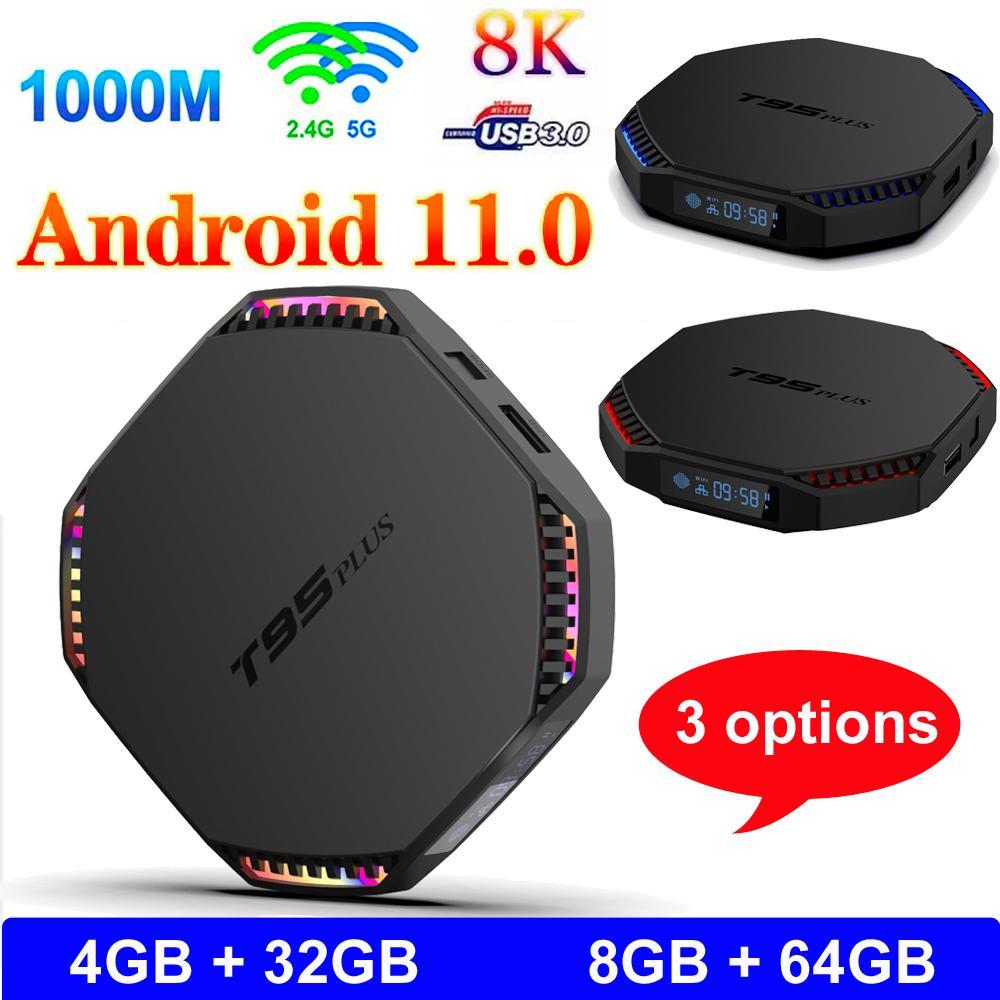 T95 PLUS Android 11.0 Smart TV Box TV 8GB RAM 64 GB ROM RK3566 Quad Core 4G32G 8K Player Media Player 1000m 2.4 / 5G Banda Dual Band WiFi BT 4.0 Android11 Set Top Box con display