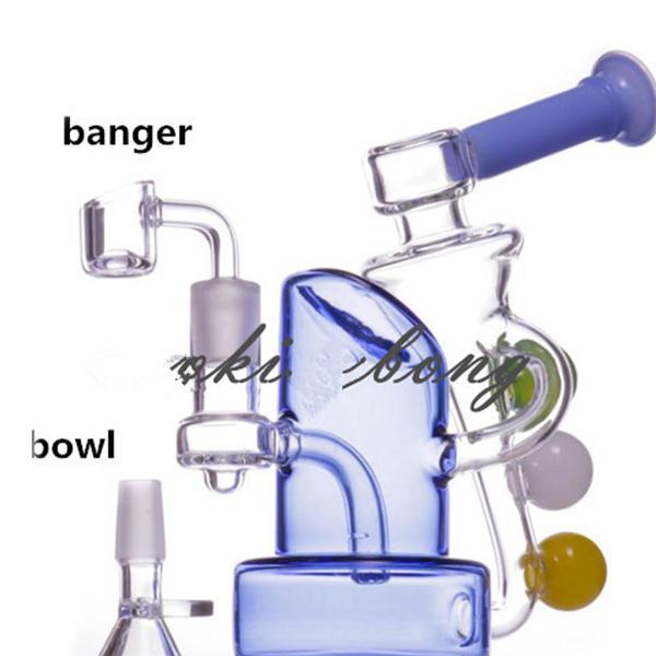푸른 유리 물 봉지 물 담뱃대 bubbler feb 달걀 연기 물 파이프 재활용 자 굴착기 오일 버너 파이프 비커 봉 14mm 관절