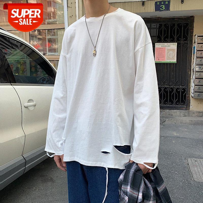 Camiseta de manga larga Hombre de moda Marca de moda Versión coreana de la tendencia Personalidad Agujero Autumn Chaqueta insuficiencia europeo y americano suelto com # up9o