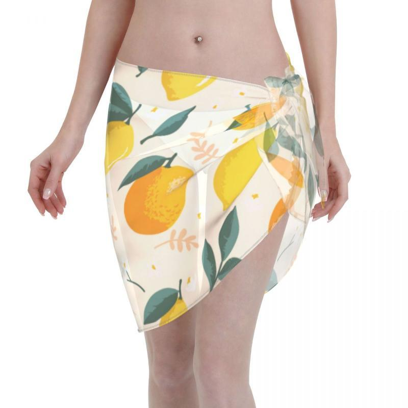 Women's Swimwear Women Beach Bikini Cover Up Summer Lemons Oranges Leaves Wrap Skirt Sarong Scarf Beachwear Bathing Suit Swimsuits