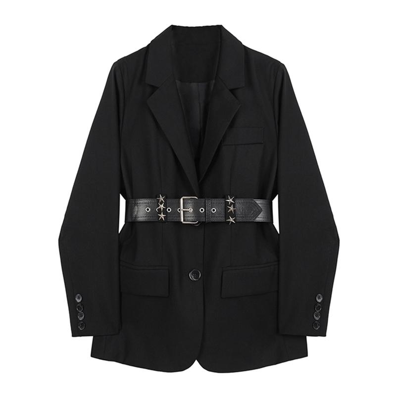 Autunno Blazer Giacche da donna con cintura Vintage Casual Casual Manica Lunga Blazer Femminili Cappotto Moda Solid Black Suits Outwear 210515