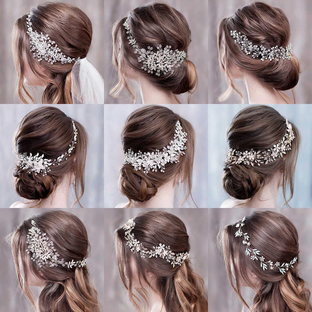 Luxurious Wedding Hair Accessories For Women Flower Headbands Bride Tiara Headband Headpiece Hairband 210616
