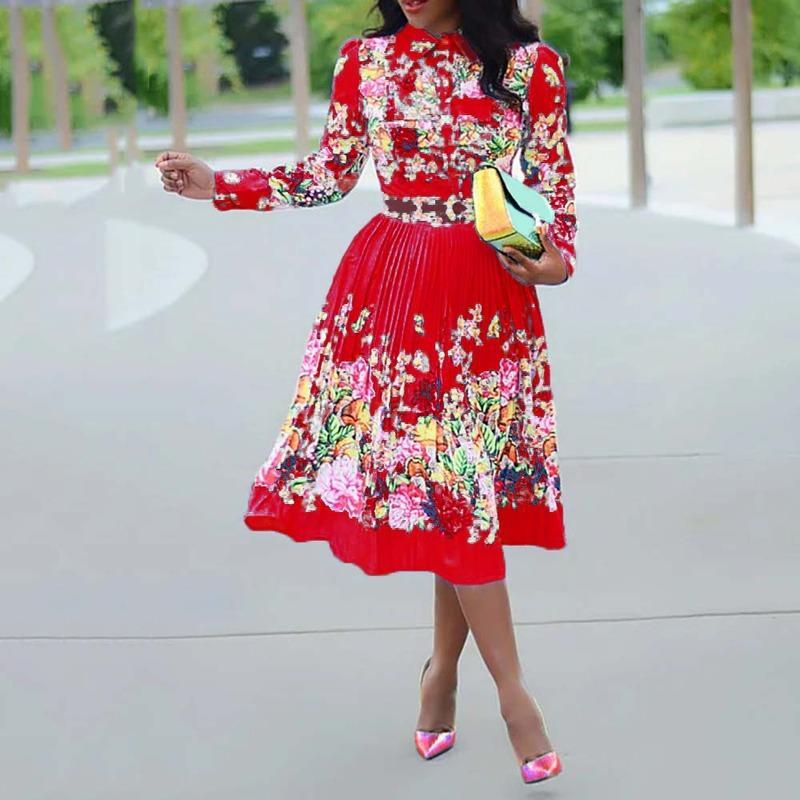 Abiti casual a maniche lunghe a maniche lunghe a maniche lunghe Pleated Dress floreale 2021 elegante femmina plus size ufficio africano signore signore vintage midi retro