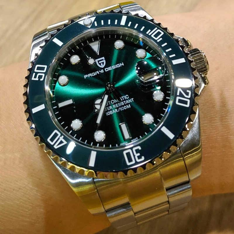 Pagani تصميم أعلى ماركة فاخرة ميكانيكية NH35 ماء الرياضة التلقائي الساعات الرجال reloj hombres