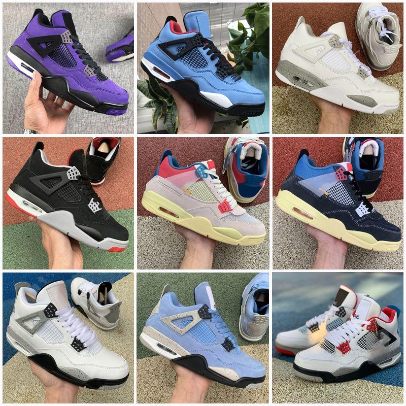 Jumpman Açık Ayakkabı 4 4 S Rasta Siyah Kedi Mahkemesi Mor Neon Raptors Erkek Eğitmenler Sneakers Boyutu 36-47