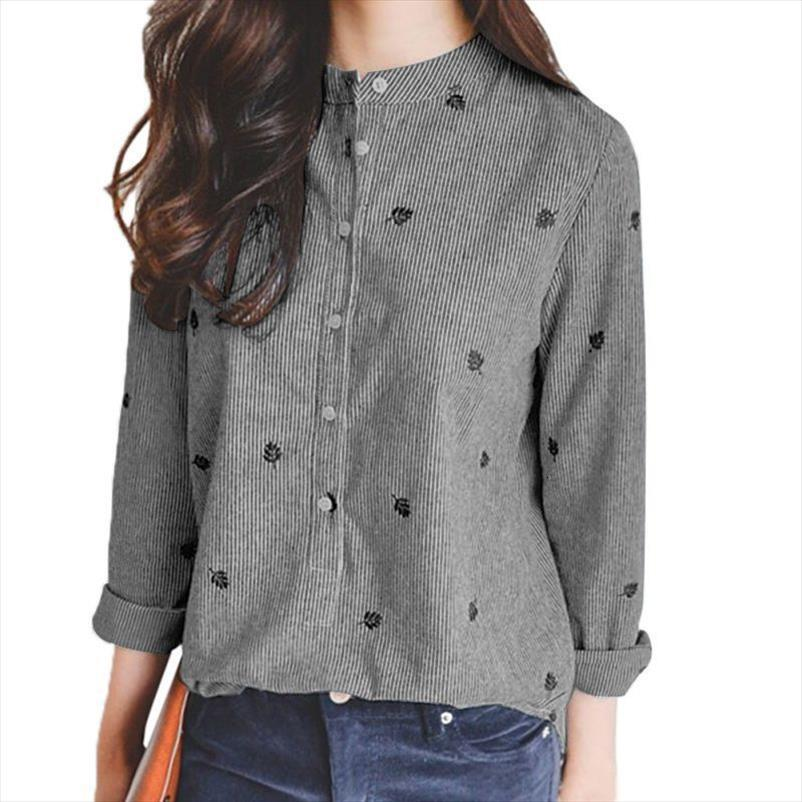 Autumn Leaves Embroidery Long Sleeve Womens Shirts Chic Striped Cotton Office Vintage Blouse Blusa