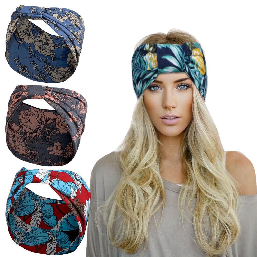 2021 Retro Tarzı Yoga Geniş Örgü Spor Kafa Kadın Baskı Çingene Hepsek Kravat Wrap Bel Düğüm Bantlar Fiterlik Hairband Hediye Toptan