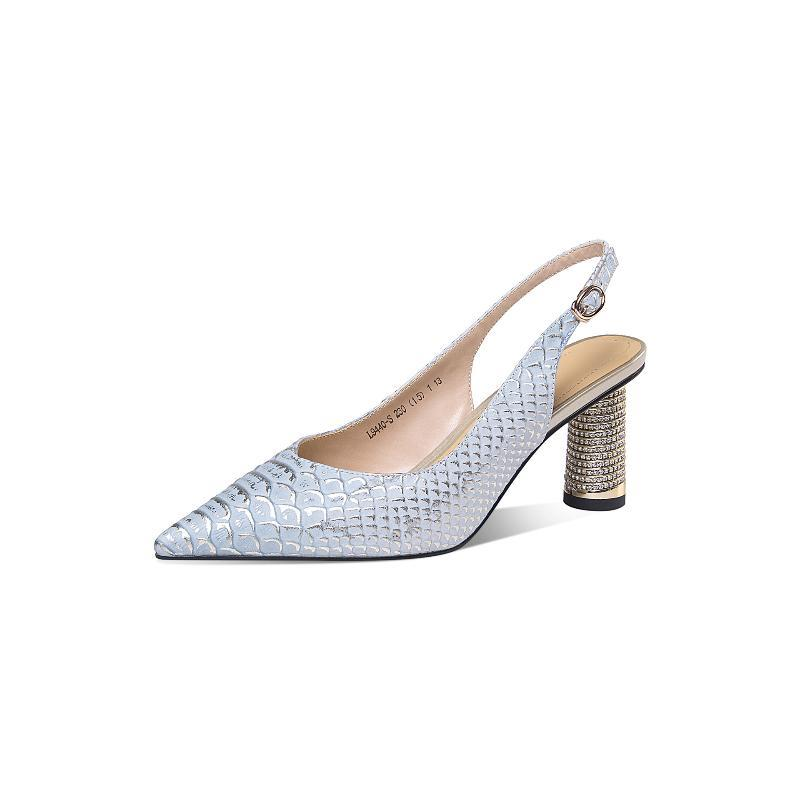 Sandales de mot Boucle Sandales Printemps Femme / Été 2021 Chaussures à talons hauts pointus avec une robe à talons mince Baotou