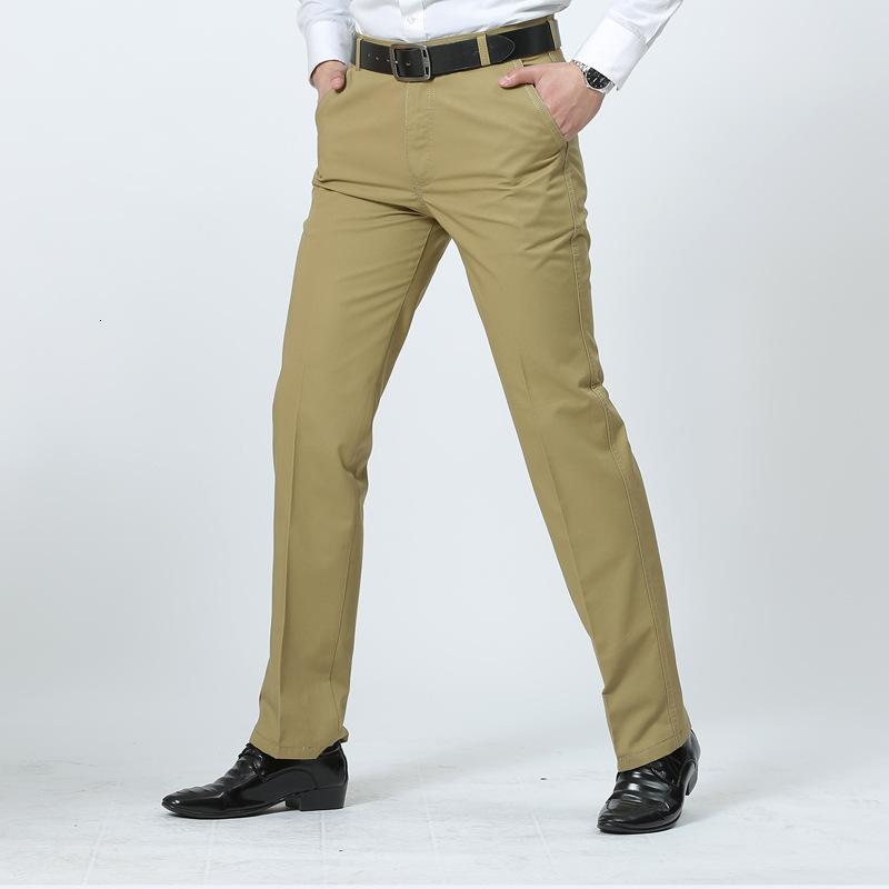 Meio envelhecido grande negócio calças retas verão fino homens casuais7wjk