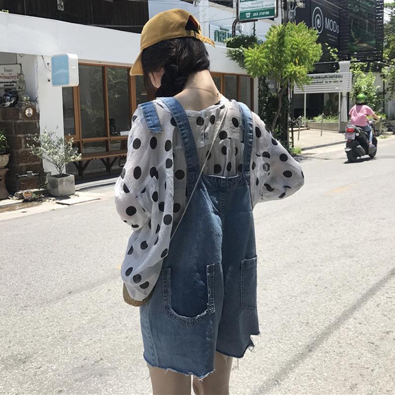 Big size 200 kg jeans bretelle femminile Studentessa Summer Student versione coreana allentata e adorabile pantaloncini corti a gamba larga