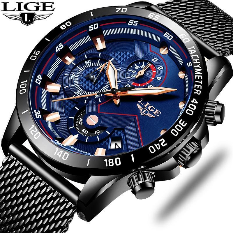 Relojes Hombre 2021 Mens Lige Moda Casual relógio para homens Data de quartzo relógios de pulso esportes cronógrafo de aço relógio de aço + caixa relógios de pulso
