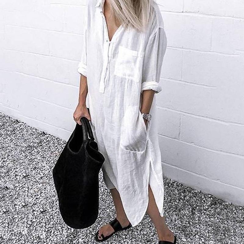 Verão Mulheres Long Camisas Vestido Escritório Senhora Vestidos De Trabalho Casual Lapela Sólida Boho Beach Moda Túnica Camisa Robe Femme