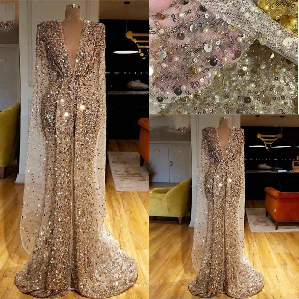 2021 Gold Sequined Glitter Evening Dresses Wear Arab Dubai Sequins Crystal Beads Deep V Neck Mermaid Prom Dress Luxury Long Sleeves Front Split Pageant Gowns Custom