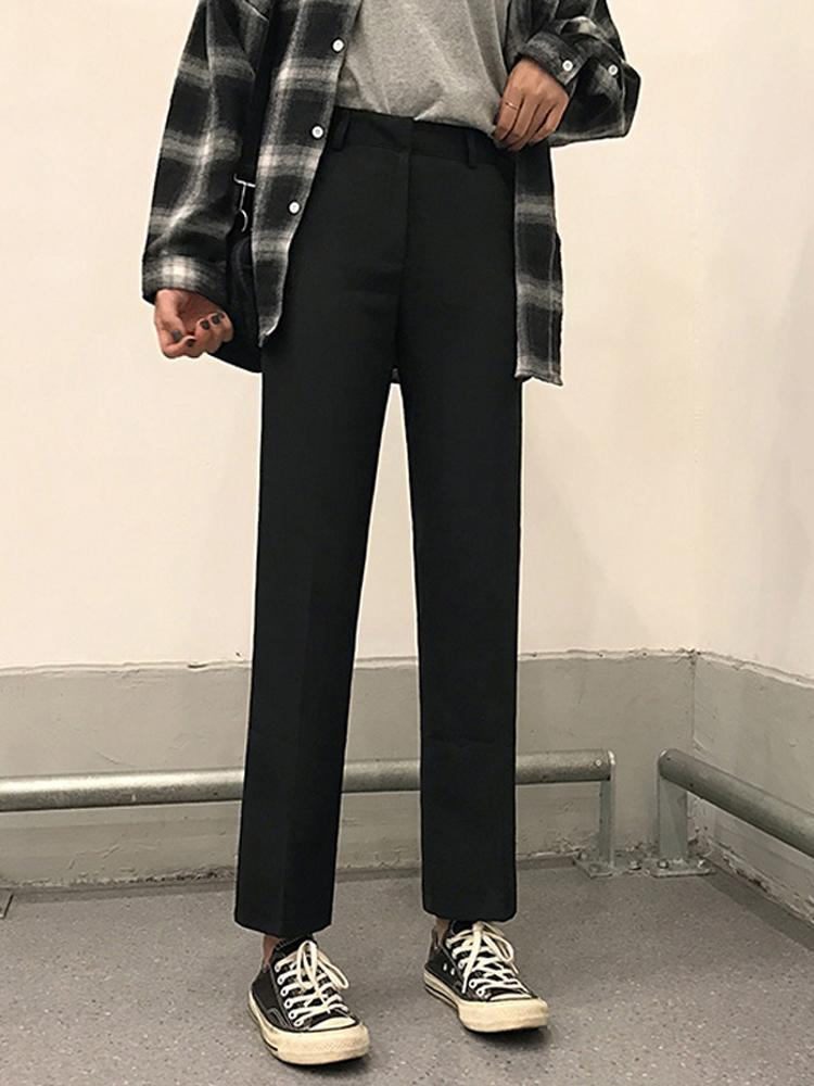 Calças pretas moda feminina outono e inverno mostra fina terno versátil estudantes de cintura solto soltar a sensação de cabris