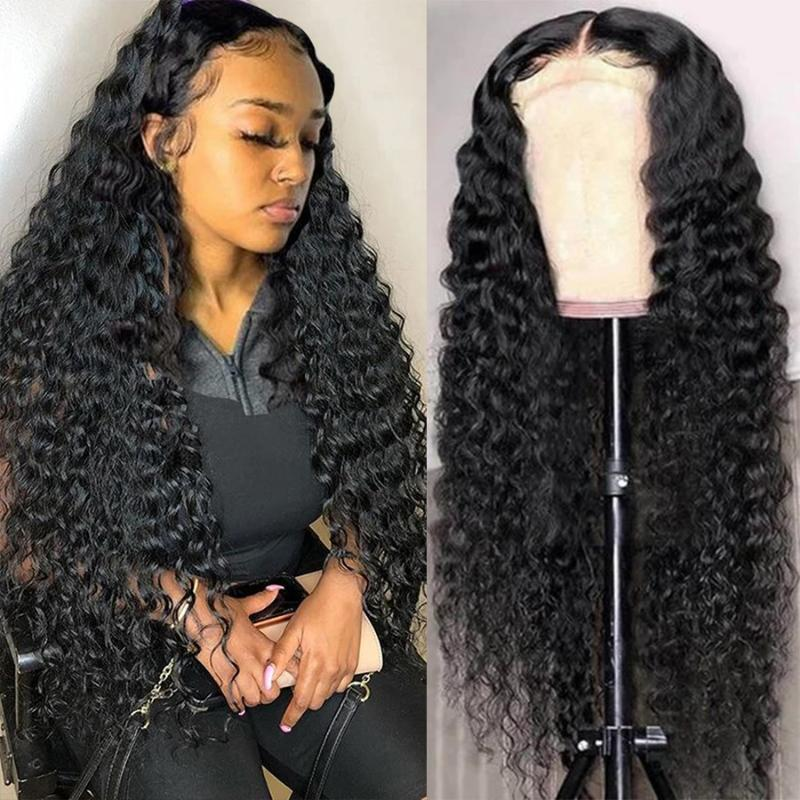 Lace Wigs Brazilian Deep Wave Front Human Hair For Black Women Transparent 13x4 Frontal Wig Closure