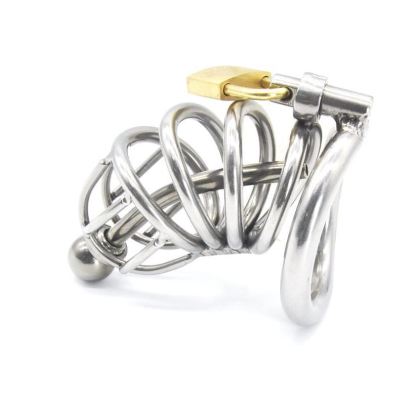 Ultima progettazione Dispositivo di castità maschile Adulto Gabbia per adulti con curva cazzo anello Giocattoli del sesso Bondage Cintura di castità Y190713