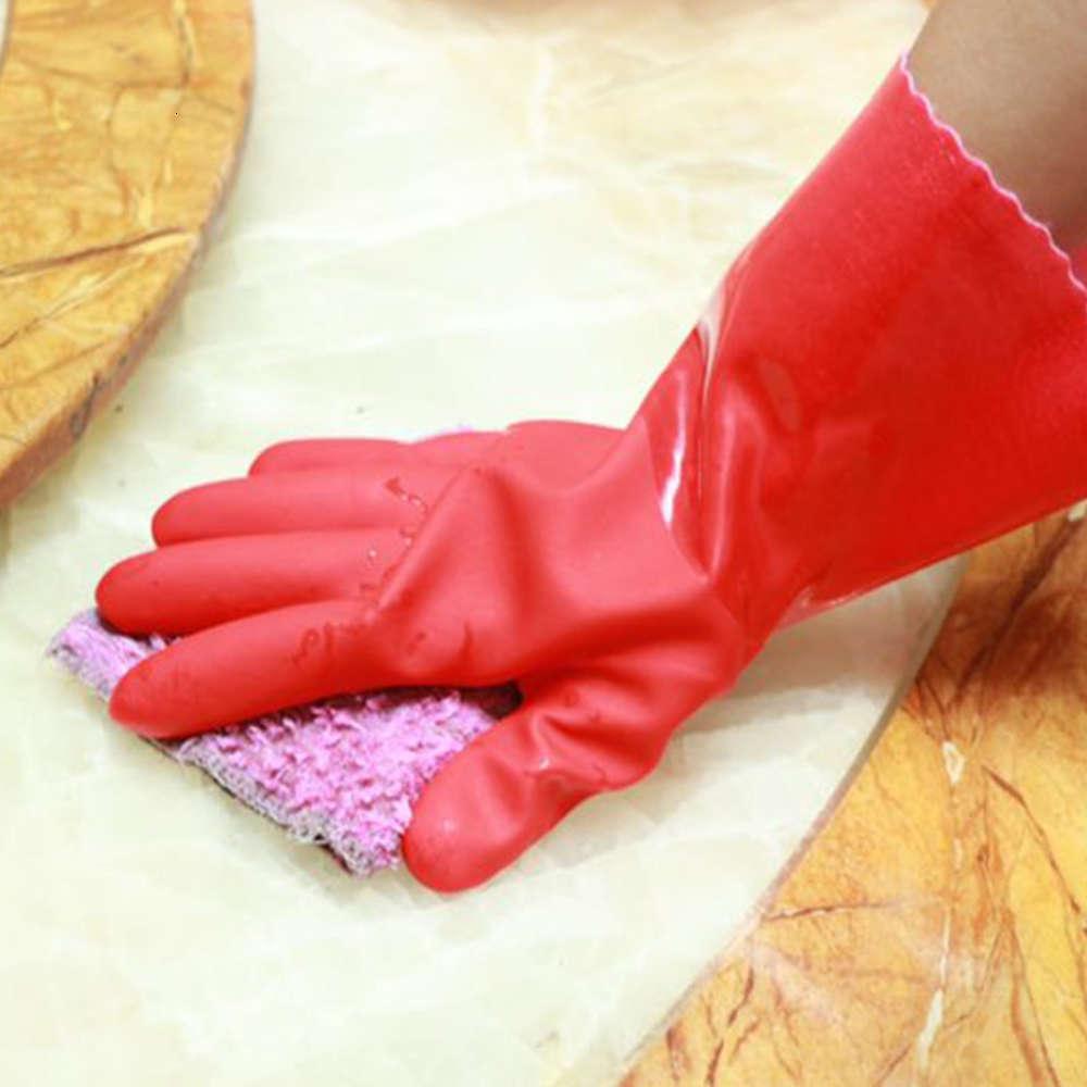 luvas vermelhas espessadas de pelúcia limpeza cozinha roupas de lavagem de borracha luvas