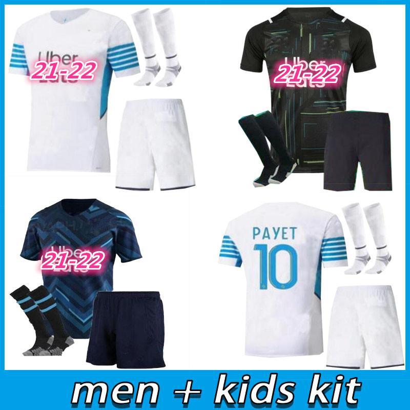 Kids Kid Kits 21 22 مارسيليا Soccer Jersey Olympique DE 2021 2022 OM مايلوت القدم المأكولات Thauvin Benedetto Kamara Payet قمصان كرة القدم