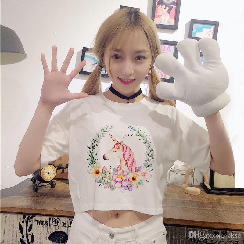 Kadın T-Shirt Chic Unicorn T Gömlek Yaz Sevimli Karikatür Baskı Kadın Tops Casual Kısa Kollu Yumuşak T Shirt Kadınlar Unicorn Femal
