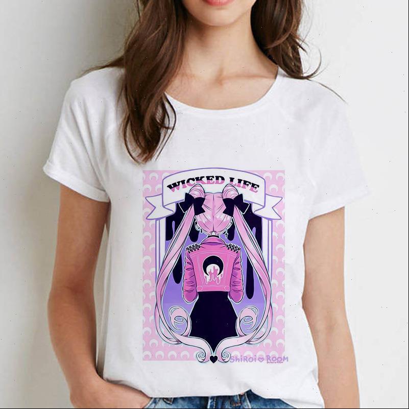 Mulheres Camisetas Cool Marinheiro Lua Impresso Mulheres Verão Harajuku Manga Curta Branco Camisas Dos Desenhos Animados Casuais Tops Camisetas Roupa Feminina