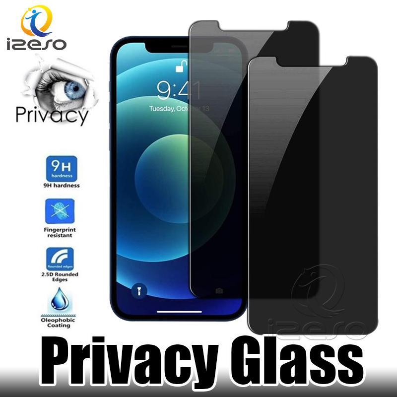 Gizlilik Ekran Koruyucu için iPhone 12 Pro Max 11 XR X 8 7 Artı Anti-Casus Paramparça Proof Temizlenmiş Cam Film Perakende Ambalaj Izeso Ile Izeso